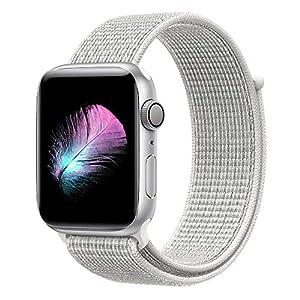 HILIMNY Für Apple Watch Armband 38MM, Weiches, Atmungsaktives Nylongewebe mit einfach anpassbarem Klettverschluss, Ersatz für iwatch Armband Series 3, Series 2, Series 1, Nike+ (Summit White, 38MM)