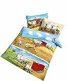 Träumschön Claas Traktor Baby Kinder Bettwäsche 100 x 135 | Claas Mähdrescher Bettwäsche für Alle Traktor Bettwäsche Fans | Warme Trecker Bettwäsche mit Kissenbezug
