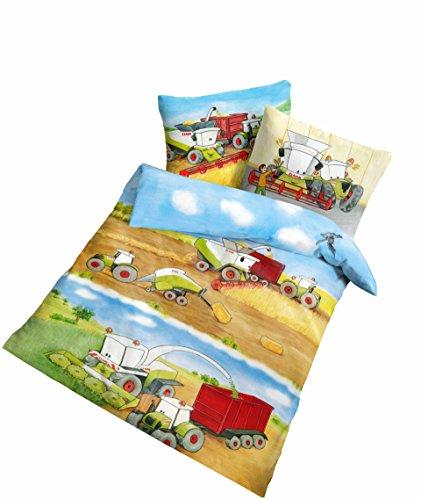 Träumschön Claas Traktor Baby Kinder Bettwäsche 100 x 135 | Claas Mähdrescher Bettwäsche für alle Traktor Bettwäsche Fans | Trecker Bettwäsche aus 100% Baumwolle