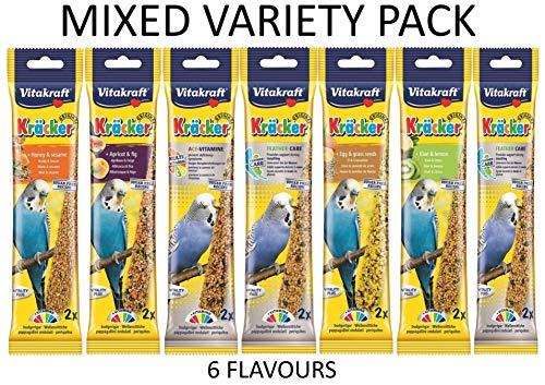 Vitakraft - Kräcker in 7Geschmacksrichtungen, Doppelpack: 2 x 7x 65g (insgesamt 14 Kräcker), für Wellensittiche