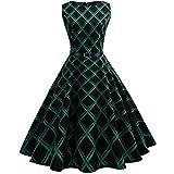 Elecenty Anni '50 Donna Elegante Cerimonia Cocktail Abito in Cotone A-Line Stile Vintage Anni'50 Audrey Hepbun S~Taglie Forti 2X (Size:XXL, Nero Verde)