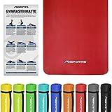 Gymnastikmatte Fitness | inkl. Übungsposter | 190 x 100 x 1,5 cm | Hautfreundlich - Phthalatfrei - Rubinrot | sehr weich - extra dick | Yogamatte