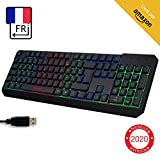 KLIMTM Chroma Clavier Gamer AZERTY FR + Durable, Ergonomique, Discret, Waterproof, Touches Silencieuses, USB + Clavier Filaire Rétroéclairé LED pour PC Gaming PS4 Mac + Nouvelle Version 2020 + Noir