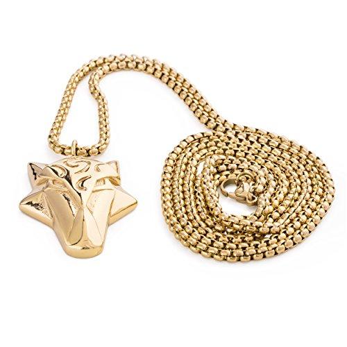 Akitsune Ferus Anhänger inkl. 90cm Kette - Halskette für Frauen und Herren aus Edelstahl - Fuchs Tier Minimalist Massiv - Gold