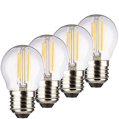 MÜLLER-LICHT 400223 A++, 4er-SET Retro-LED Lampe Miniglobe ersetzt 40 W, Glas, E27, weiß, 4.5 x 4.5 x 7.7 cm [Energieklasse A++]