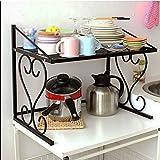 DFHHG® Estante, cocina de metal Horno de microondas Cocina de arroz Soporte para horno de horno Multifunción Incorporada Fuerte y duradero ( Color : Negro )