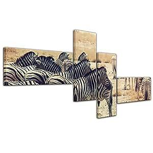 """Bilderdepot24 Immagine su telaio a cunei """"Zebre nel tramonto"""" 200x90 cm 4tlg - Già montato sul telaio, stampa su tela di cotone 100%, Stampa artistica intelaiata e pronta da appendere"""
