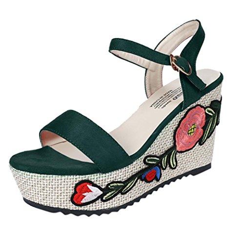 Kkangrunmy clarks donna sandali, sandali bambina sandalo basso fascia,chicco pantofole con zeppa a ciabattine a tacco alto da donna (35, verde)