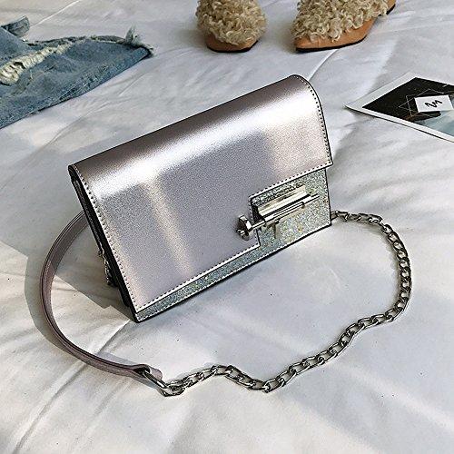 ALEILA Umhängetasche Pailletten PU Messenger Crossbody Tasche Satchel Geldbörse,Silver -