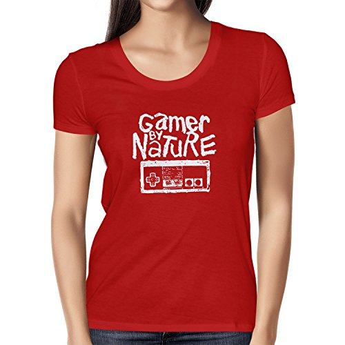 NERDO - Gamer By Nature - Damen T-Shirt Rot