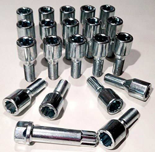 Lot de 20 écrous de roue en alliage fin à style Tuner, plaqué zinc M14 x 1,5, 17 mm étoile hexagonale, Longueur du filetage 28 mm.-