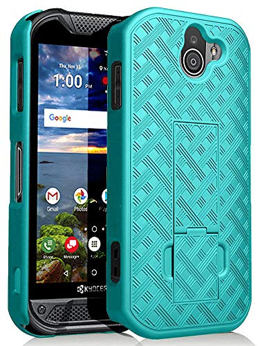 Kyocera Duraforce Pro 2 Case, Nakedcellphone [Teal Mint Cyan] Slim Ribbed  Rubberized Hard Shell Cover [with Kickstand] for Kyocera Duraforce Pro-2