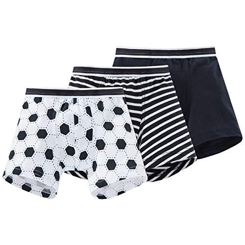 Schiesser Jungen 3pack Hip Shorts Boxershorts, Mehrfarbig (White Sortiert 1 901), 98 (3er Pack)