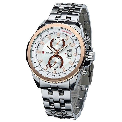 cf5ac72ac378 Curren Fashion plateado hombres de acero inoxidable FECHA Militar deporte  cuarzo reloj de pulsera esfera blanca