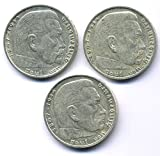 orig. Silbermünze Lot - 3 x 2 Reichsmark 1937 / 1938 / 1939 - III.Reich - Paul von Hindenburg - Münze