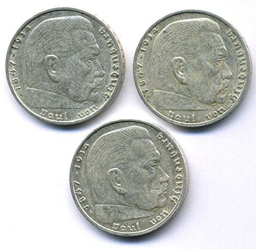 Preisvergleich Produktbild orig. Silbermünze Lot - 3 x 2 Reichsmark 1937 / 1938 / 1939 - III.Reich - Paul von Hindenburg - Münze