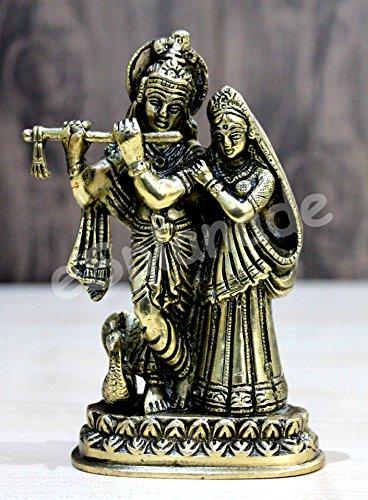 "StonKraft Brass Krishna Radha with Peacock Murti 6"" Idol Statue Sculpture (Brassradhakrishna, Multicolour)"