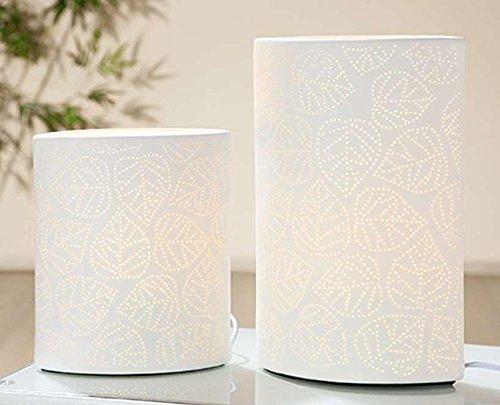GILDE Porzellan Lampe Ellipse Blatt Weiss E 14 max 40 W 220-240V L = 17 x B = 10 x H = 20 cm H/l Lampe
