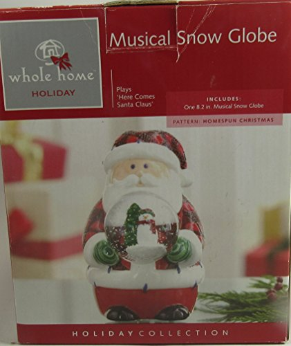Wholehome Christmas Snow Globe Musical Hier Kommen Santa Claus 20,8 cm (Snow Christmas Globes)