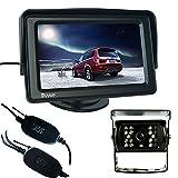 Buyee Funk Rückfahrkamera Nachtsicht 18 IR LED Farbe Rückfahrkamera Auto Kabellos Rückfahrsystem KFZ+4.3 Zoll TFT LCD Monitor