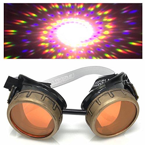 Steampunk Brille mit UV-Licht glow in der Dunkelheit Neon orange Spirale Beugung Gläser Rave Kostümzubehör Musikfestival Punk Cyber Gothic ()