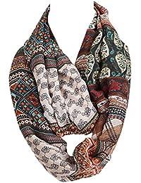 Tuch im Loop-Schal-Stil - wunderschöne Farbkombination mit floralen Ornamenten gemixt mit aztekischem Muster - Schal Halstuch für Damen