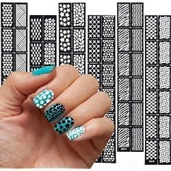 Nail Art etiqueta Plantillas Nail Art Uñas de plantillas 6hojas K1-- K6uñas Protector adhesivo para aerógrafo, esmalte de uñas, Glitter
