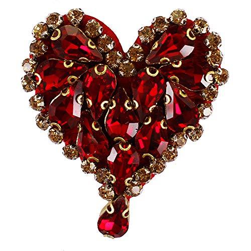 EMDOMO Perlen-Diamant-Herz-Anstecker, Wassertropfen, Kristall-Motive, Love-Strasssteine, für...