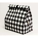 Bolsa tuper. Bolsa de almuerzo impermeable con estampado cuadros blanco y negro.