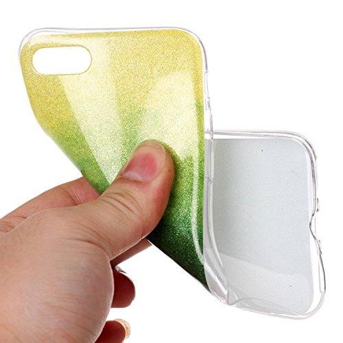 iPhone 7 Hülle Weiches Silikon Glitzer Schutzhülle Tasche Case,Hochwertig Leicht Gummi Schutz Hoch Handyhüllen Schale Etui,Herzzer Modisch Luxus Silikon Bunt Hülle [Farbverlauf Gradient Farbe] Regenbo Gelb und Grün
