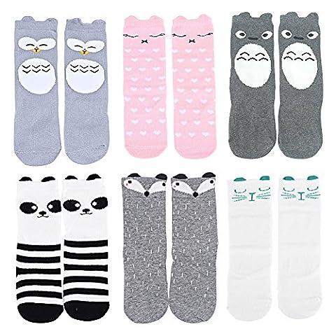 Olabb Lot de 6 paires de chaussettes hautes pour enfant Unisexe Thème Animaux - multicolore - M
