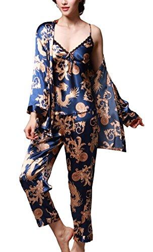 Uniquestyle À Manches Longues Pyjama de Soie de Femme Sexy de Confort Trois-pièces Bleu Taille 2XL=FR L