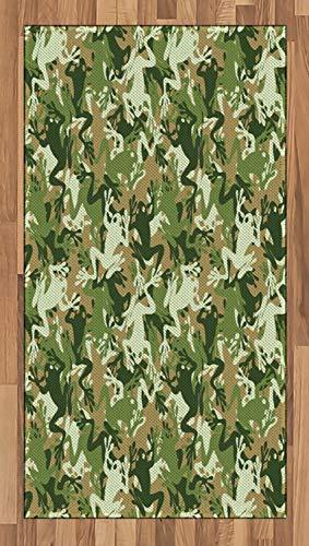 ABAKUHAUS Frosch Teppich, Schädel Camouflage Design, Deko-Teppich Digitaldruck, Färben mit langfristigen Halt, 80 x 150 cm, Grün