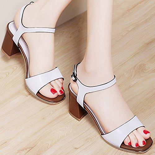 ZPPZZP La sig.ra sandali scanalato in stile occidentale porta poco profonda punta aperta tacco alto con bold 35EU