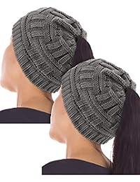 2 Piezas de Gorro de Mujeres con Agujero de Cola de Caballo Gorra de  Invierno Gorro de Punto Sombrero de Cola de… 5e573f6c07d