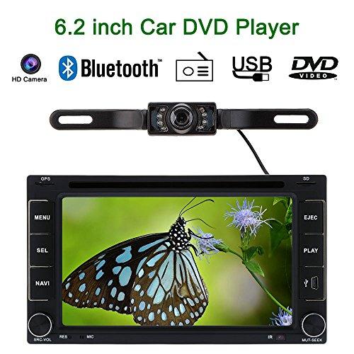 KKmoon 6.2 Inch 2 Din Voiture Lecteur DVD/USB/SD GPS Navigation Bluetooth Radio Multimédia HD Entertainment System pour Voiture Universel + Caméra HD