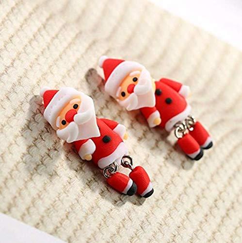 Weihnachten Ohrstecker handgemachte weiche Keramik Santa Claus Ohrringe Clay Ohrstecker Keramik-santa