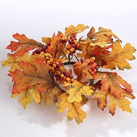 Package of 4 Vibrant Fall Inspired Artificial Silk Fall Maple Leaf Candle Rings with Autumn Berries. by Unknown - Maple Silk Tree