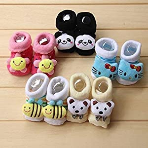 Clastik Cartoon Face Socks for Baby Girl and Boy (0-12 Months,Multicolor) Pack of 3 Pairs Color and Design May Vary