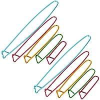 10 Stück Garn Stichhalter Set Häkeln Stricknadel Stitch Halter Aluminium Sicherheitsstifte, 5 Größen, Verschiedene Farben