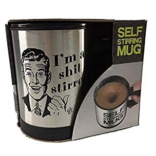 Funny Novelty Mugs - Auto Mixing - Stir Self Stirring - Coffee Tea Cup Lazy Mug Gift - Magic Mug - Stainless Steel Automatic Mixing & Spinning Cups (Gentlemen Image)