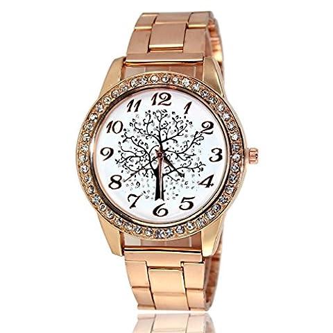 Tongshi Baum Muster Gold Uhren Diamant Zifferblatt Gold Stahl Analog