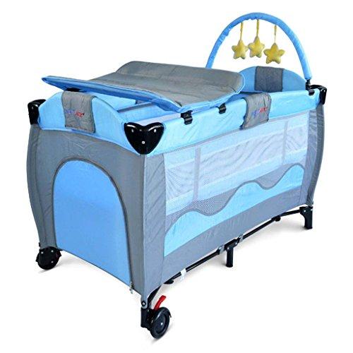 Dellt@ fasciatoio, lettino da gioco per bambini, protezione anticaduta lettino portatile pieghevole per pannolini da bambino carica 30 kg (colore : blu)