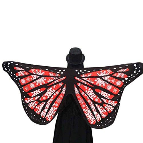Brot Kostüm Hunde - TWIFER Weichen Stoff Schmetterlingsflügel Fee Damen Nymph Pixie Kostüm Zubehör Party Cosplay (145 x 65CM, B-Rot)