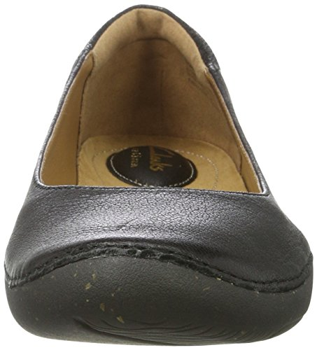 Clarks Autumn Sun, Ballerines Femme Noir (Black Leather)