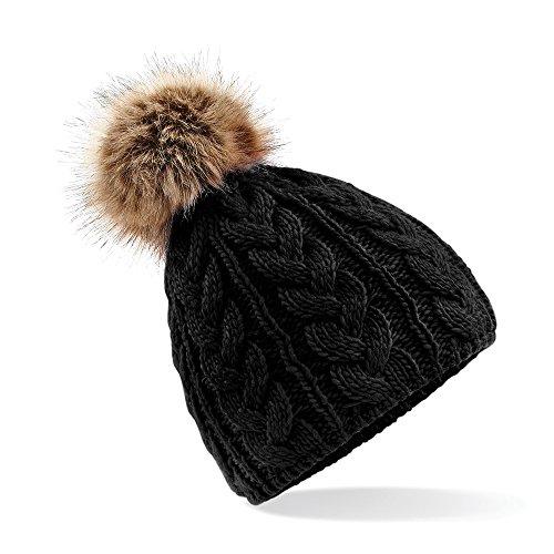 Beechfield - Bonnet à pompon - Adulte unisexe (Taille unique) (Noir)