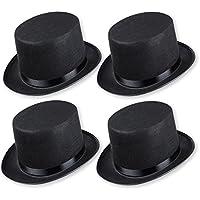 Schramm Onlinehandel 0603 - Sombrero de copa para disfraz (para adultos, 4 unidades), color negro