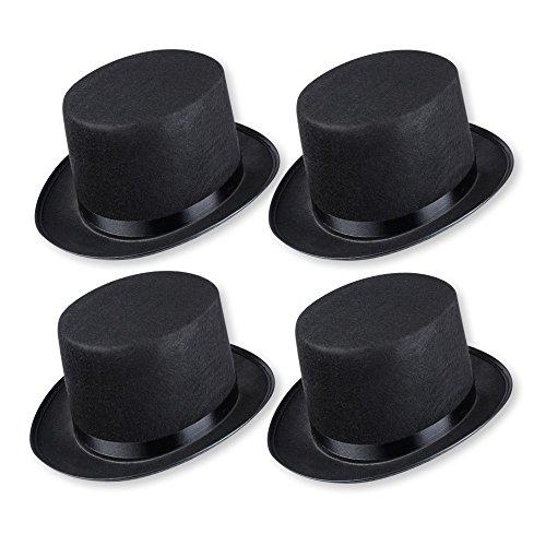 Schramm® 4 Stück Zylinder Hut mit Satinband Schwarz für Erwachsene Chapeau Zylinderhut 4er Pack