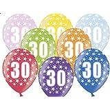 """SiDeSo® 10 Luftballons Zahl 30 12"""" bunt / mix metallic Party Geburtstag Jahrestag"""