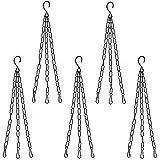 COIR GARDEN Metal S-hook Type Chain For Hanging Pots, Black, 15 in, 5 Pieces